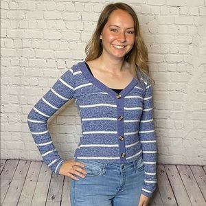 Blue and White Striped Button-up Sweater